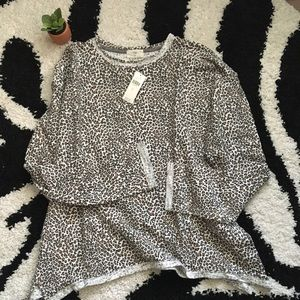 NWT Anthropologie Cheetah Sweatshirt Sz L